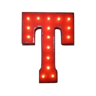 "21"" Letter T Plug-In Rustic Metal Marquee Light Up Sign Color"