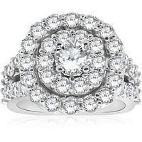 Bliss 10K White Gold 4 ct  TDW Diamond Cushion Double Halo Engagement Ring