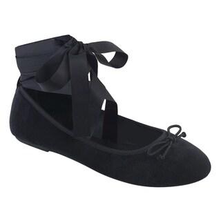 Demonia DRAC-03 Women Wrap-Around Ankle Ribbon Mary Jane Ballet Flats