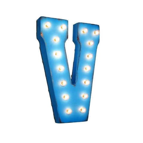 "21"" Letter V Plug-In Rustic Metal Marquee Light Up Sign Color"