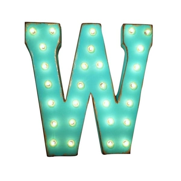 W Up Letters   Shop 21 Letter W Plug In Rustic Metal Marquee Light Up Sign Color
