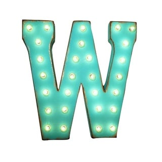 "21"" Letter W Plug-In Rustic Metal Marquee Light Up Sign Color"