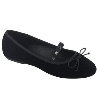 Demonia DRAC-07 Women's Slip On Studded Bow Mary Jane Ballet Flats
