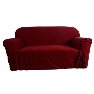 Stretch Slipcover 3 Seat Sofa Cover Wine Red