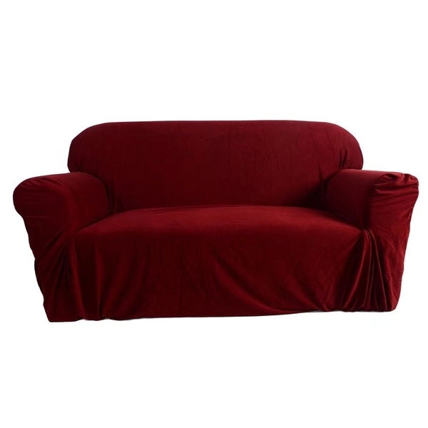 Shop Stretch Slipcover 3 Seat Sofa Cover Wine Red Free