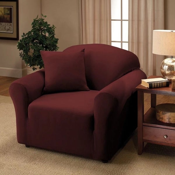 Stretch Slipcover Single Seat Sofa Cover Wine Red