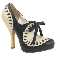 Pin Up Couture Women's Cutout Scalloped Ribbon Tie Mary Jane Pumps