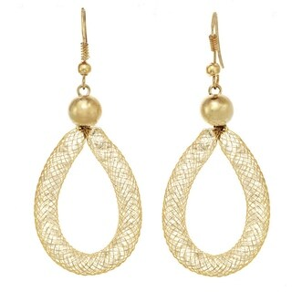 Gold & Crystal Mesh Teardrop Earrings (2 options available)