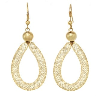 Gold & Crystal Mesh Teardrop Earrings