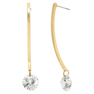 Square A Wire with Cubic Zirconia and Goldtone Drop Earrings