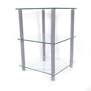 3 Tiers Tempered Glass Side Table Rectangle White