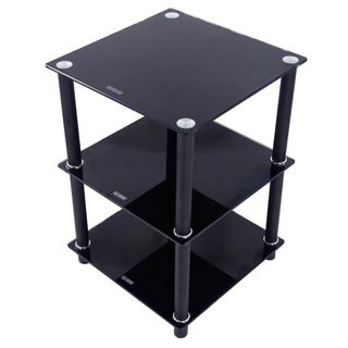 3 Tiers Tempered Glass Side Table Rectangle Black