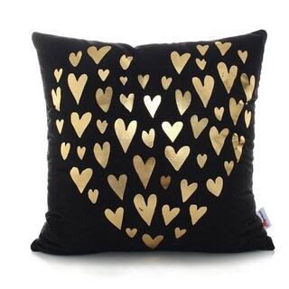 Flannel Pillow Case Gold Hearts 18 x 18