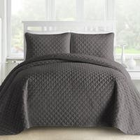 Ogee 3-Piece King Size Oversized Quilt / Coverlet Set with Cotton Filling in Light Grey (As Is Item)