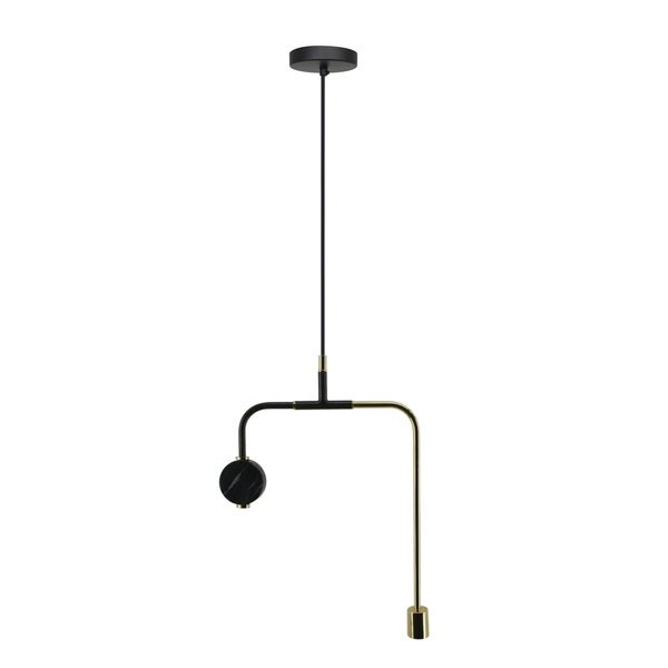 CDI Furniture Nyx Collection Iron Black Marble Pendant Lamp, Ant Zinc