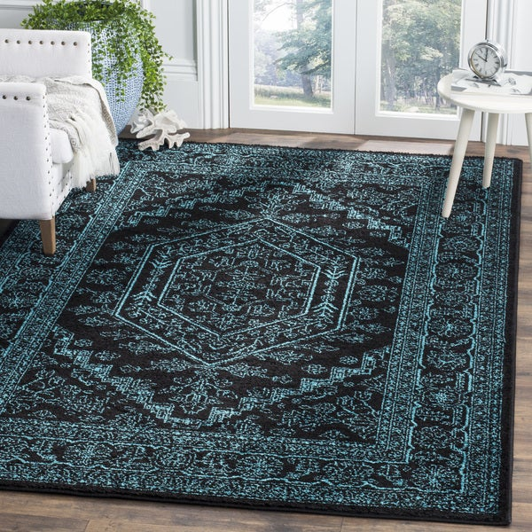 Teal And Black Rug