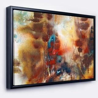 Designart 'Artistic Brown' Abstract Framed Canvas Artwork