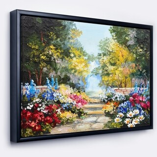 Designart 'Summer Forest with Flowers' Landscape Art Print Framed Canvas