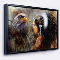 Designart 'Indian Woman with Feather Headdress' Indian Framed Canvas Artwork