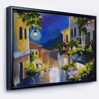 Designart 'Night City near Sea' Landscape Framed Canvas Art Print