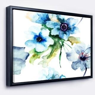Designart 'Seamless Summer Blue Flowers' Floral Art Framed Canvas Print
