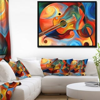 Designart 'Music and Rhythm' Abstract Framed Canvas Art Print