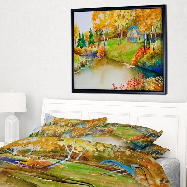 Designart \'House and Quiet Pond in Fall\' Landscape Art Print Framed ...