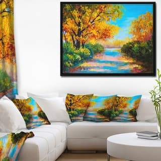 Designart 'Autumn Forest with Colorful River' Landscape Art Print Framed Canvas