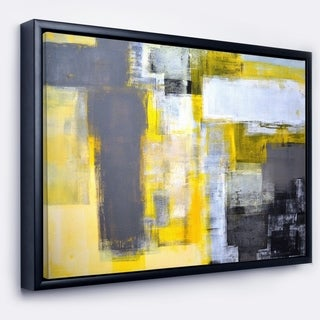 Designart 'Grey and Yellow Blur Abstract' Abstract Framed Canvas Art Print