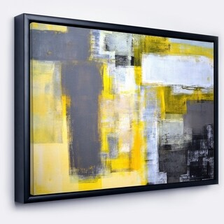 Designart 'Grey and Yellow Blur Abstract' Abstract Framed Canvas Art Print (3 options available)