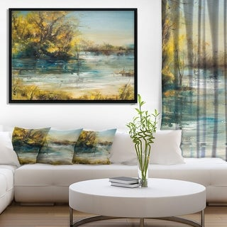 Designart 'Trees by the Lake' Landscape Art Print Framed Canvas