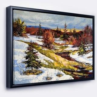 Designart 'Spring Valley with River' Landscape Art Print Framed Canvas