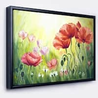 Designart 'Poppies in Morning' Floral Art Framed Canvas Print