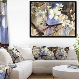 Designart 'White Spring Flowers' Floral Art Framed Canvas Print