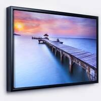 Designart 'Blue Wooden Bridge' Seascape Photography Framed Canvas Art Print