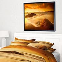 Designart 'Sun Tinted Beach' Photography Framed Canvas Art Print