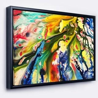 Designart 'Mixed Oil Color Texture' Abstract Framed Canvas Art Print