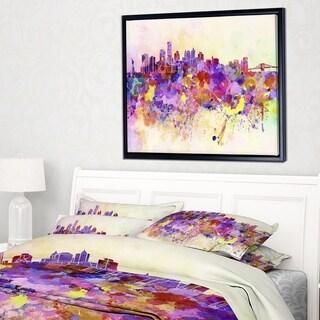 Designart 'Purple New York Skyline' Cityscape Framed Canvas Art Print