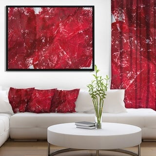 Designart 'Abstract Red Texture' Abstract Framed Canvas Art Print