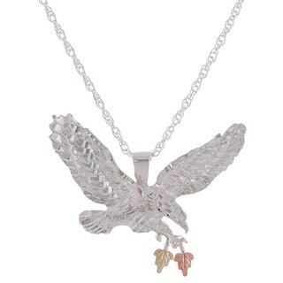 Black Hills Gold and Sterling Silver Eagle Pendant Necklace