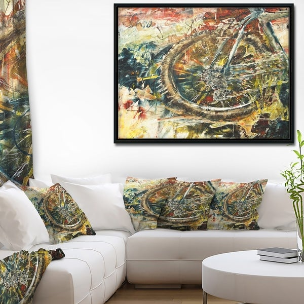 Shop Designart \'Mountain Bike Oil Painting\' Abstract Framed Canvas ...