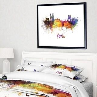 Designart 'York Skyline' Cityscape Framed Canvas Artwork Print