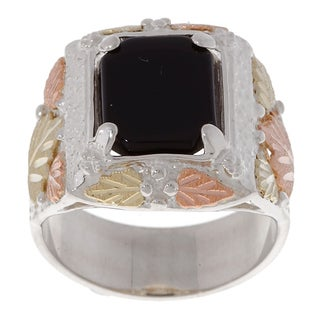 Black Hills Gold and Silver Onyx Mens Ring