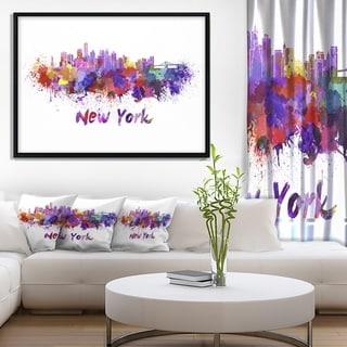 Designart 'New York Skyline' Cityscape Framed Canvas Artwork Print