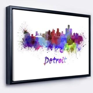 Designart 'Detroit Skyline' Cityscape Framed Canvas Artwork Print