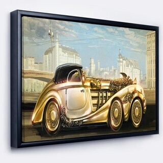 Designart 'Futuristic Gold Machine' Abstract Framed Canvas Art Print