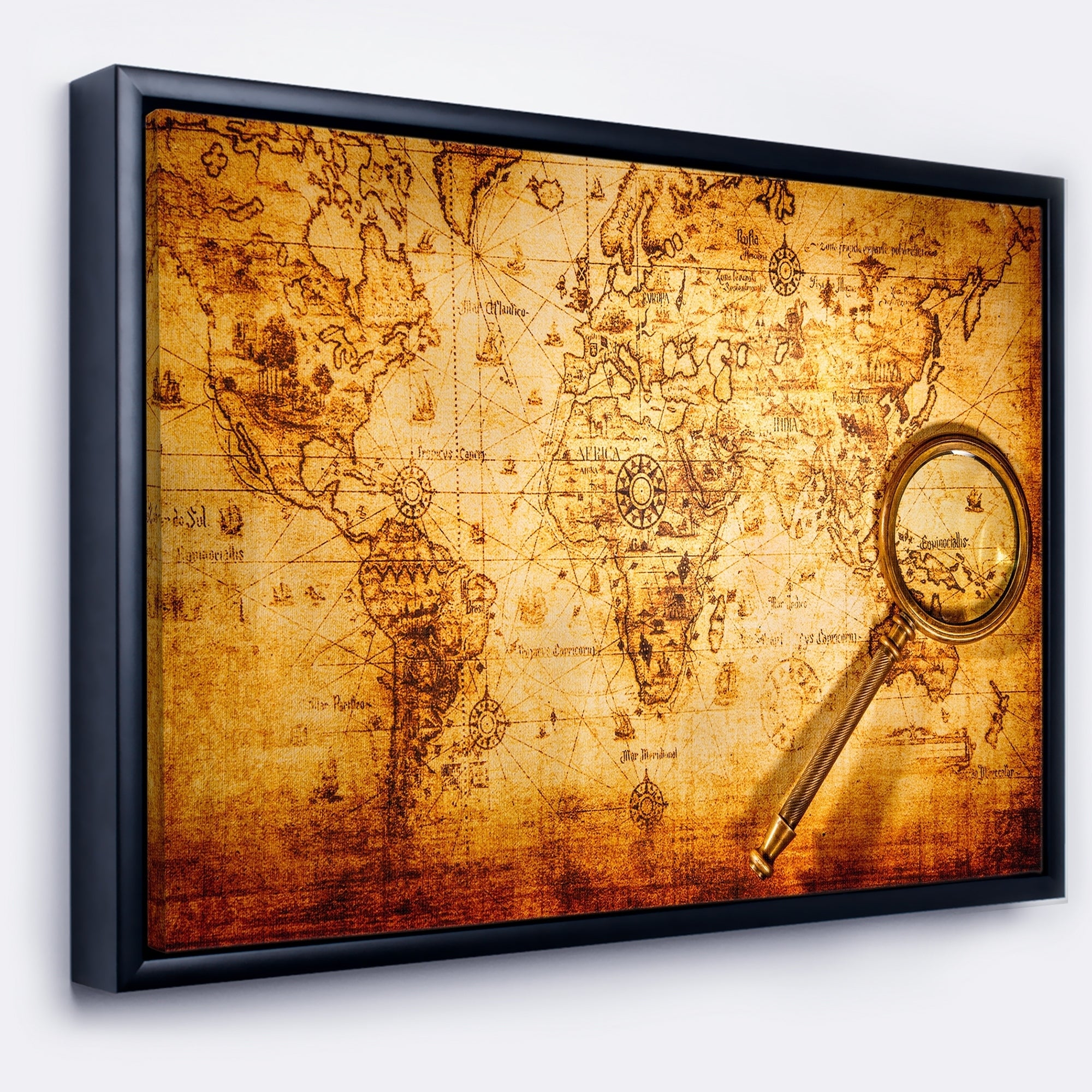 Designart Magnifying Glass On World Map Abstract Framed Canvas Art Print