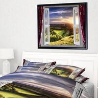 Designart 'Window View' Landscape Framed Canvas Art Print