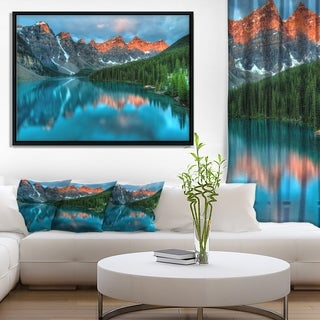 Designart 'Moraine Lake Sunrise' Landscape Photography Framed Canvas Art Print