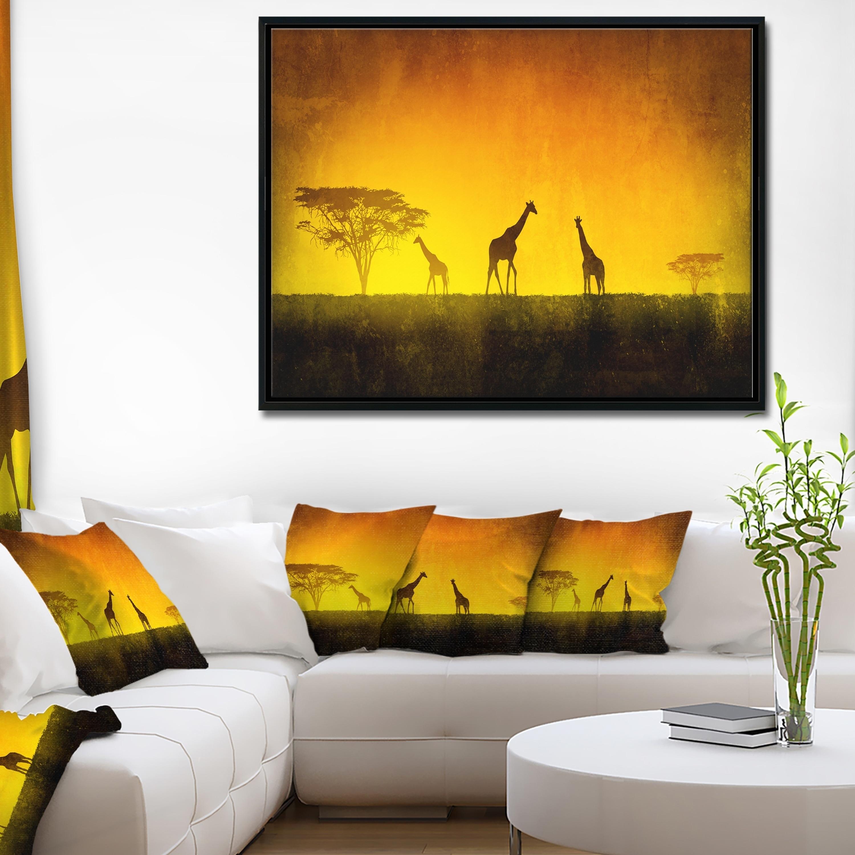 Designart \'African Sunset Aura\' Landscape Art Print Framed Canvas | eBay